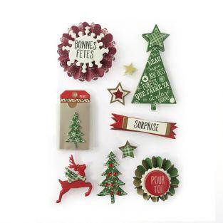 10 pegatinas 3D árboles de navidad 7 cm