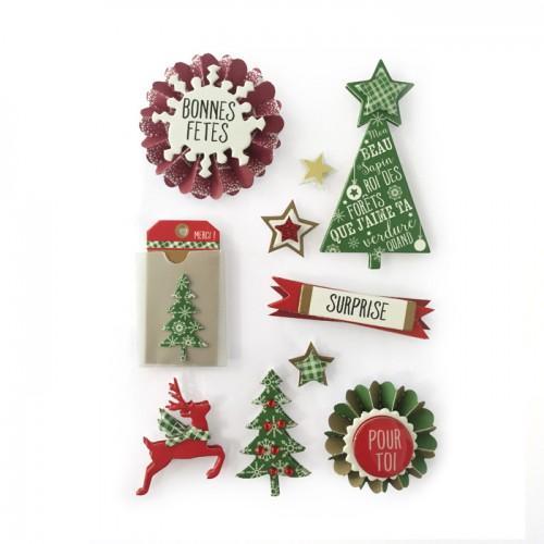 10 stickers 3D sapins de Noël 7 cm