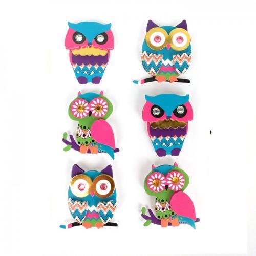 6 stickers 3D hibou & chouette 4,5 cm