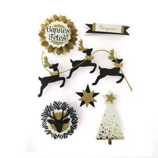 6 stickers 3D rennes de Noël 6,5 cm
