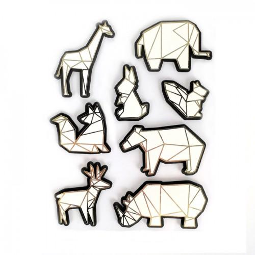 8 stickers 3D animaux du zoo 6 cm