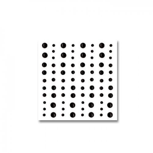 80 perles adhésives noires