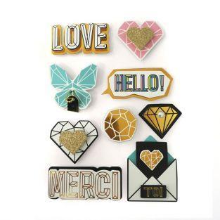 9 pegatinas 3D Hello Love 5,5 cm