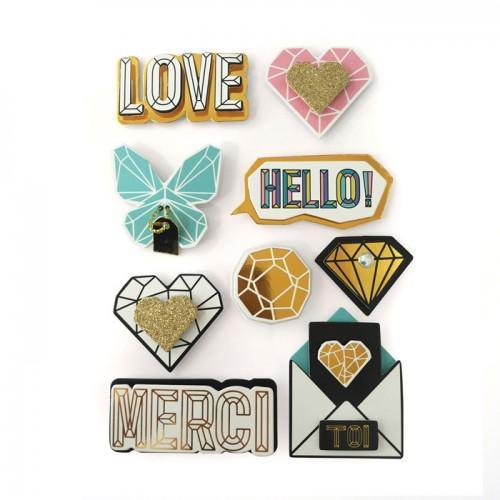 9 stickers 3D messages d'humeur 5,5 cm