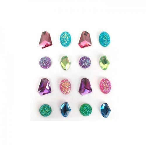 16 pierres précieuses adhésives multicolores 20 mm