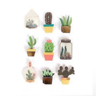 9 stickers 3D cactus et botanique 4 cm
