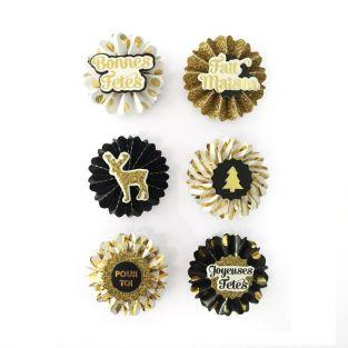 6 pegatinas 3D medallones de Navidad 4 cm