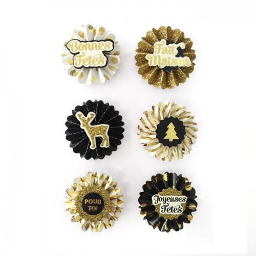 6 stickers 3D médaillons de Noël 4 cm