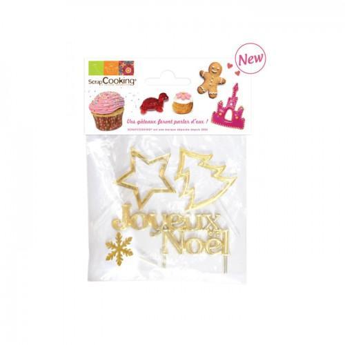 4 accesorios de decoración dorados de Navidad