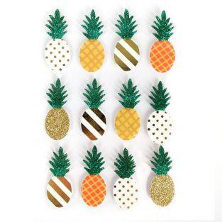 12 stickers 3D Ananas 4,5 cm