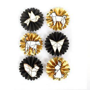 6 stickers 3D animaux géométriques & origami