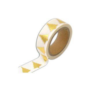 Masking tape blanco con arbol de Navidad dorado - 10 m