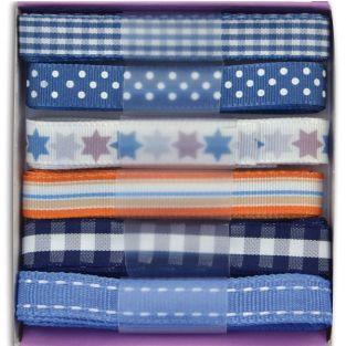 Rubans bleus à motifs
