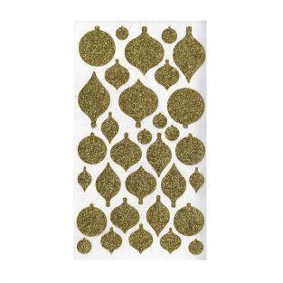 Stickers boules de Noël à paillettes dorées