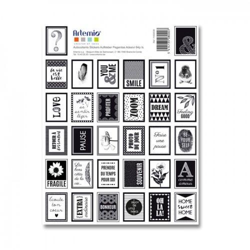64 Stickers timbres noirs & blancs La vie est belle