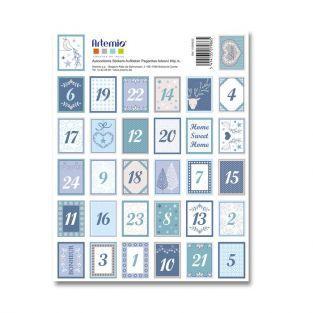 64 Stickers chiffres bleus pour calendrier de l'Avent