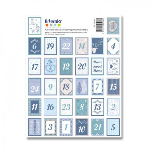 64 Stickers blue numbers for Advent Calendar