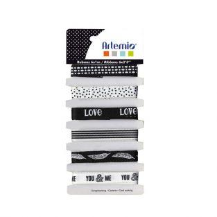 6 black & white Love ribbons