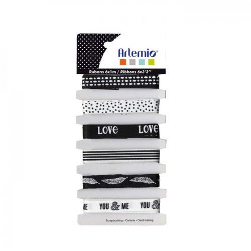 6 rubans Amour noir & blanc
