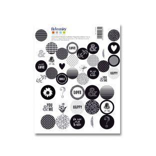 41 stickers ronds noirs & blancs La vie est belle
