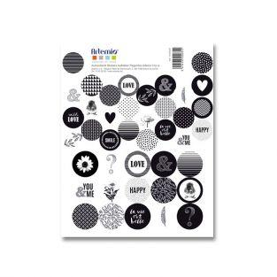 41 black & white round stickers - Life is beautiful