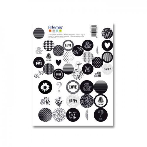 41 pegatinas redondas negras y blancas - La vida es bella