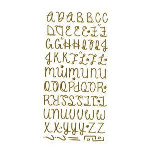 Stickers alphabet doré à paillettes