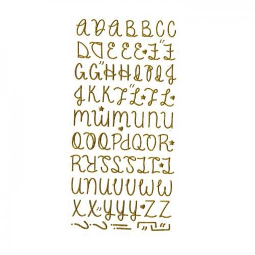 Pegatinas alfabeto dorado con brillo