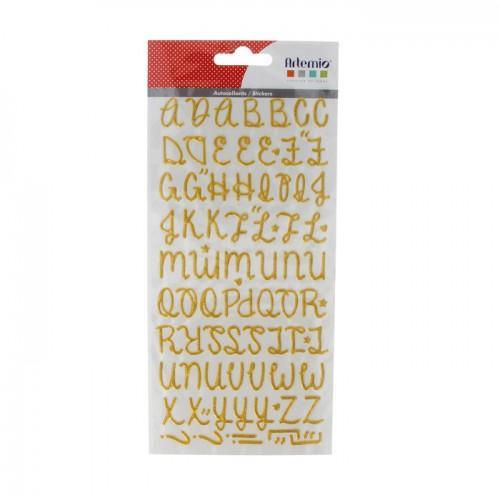 Golden alphabet Stickers with glitter