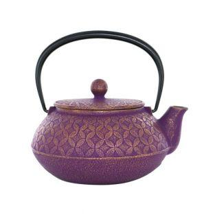Japanese cast iron Teapot -7 treasures - purple