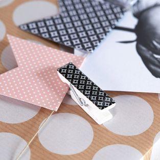 6 Epoxy clothespins - black & white