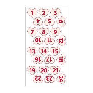 24 chiffres cœur en feutrine - rouge sur blanc