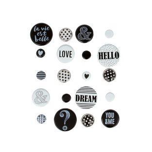 20 brads - black & white