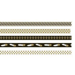 5 masking tapes - gold-black-white
