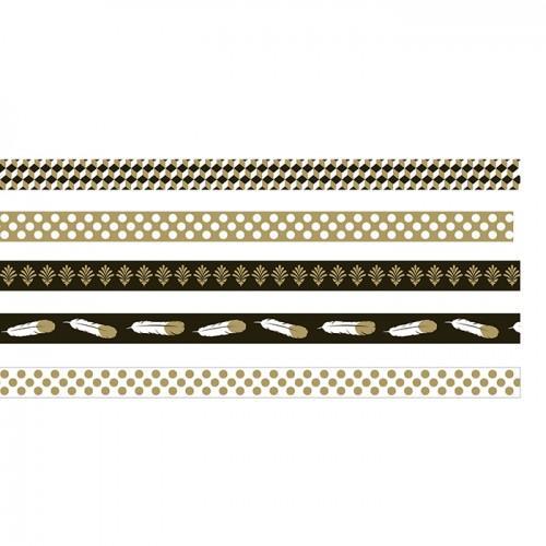 5 masking tapes - doré-noir-blanc