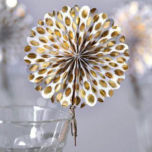 6 mini paper fans - gold