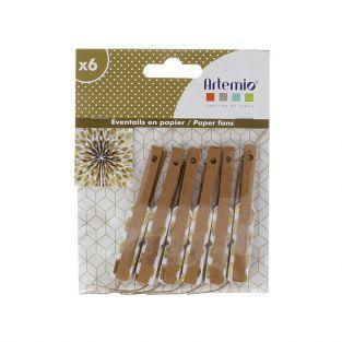 6 mini abanicos de papel - dorado
