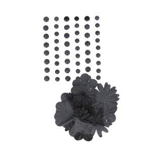 Perles autocollantes & Fleurs papier - Noir