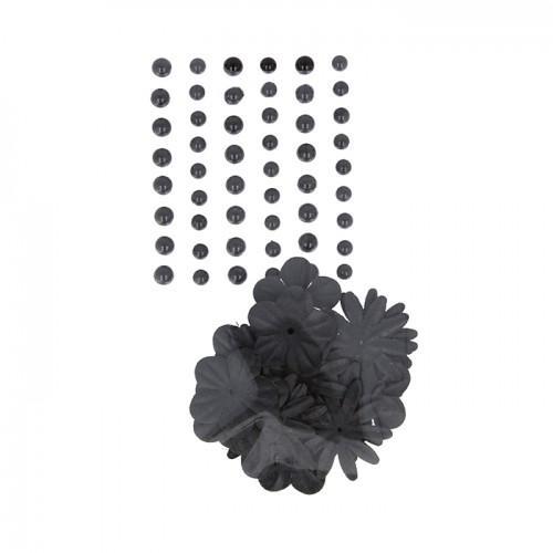 Perlas adhesivas y flores de papel - negro