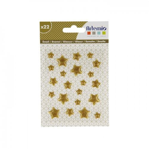 22 estrellas de esmalte dorado con brillo