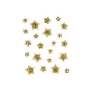 22 enamel golden stars with glitter