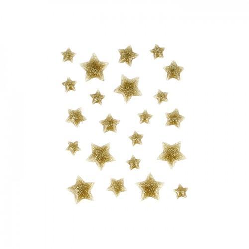 22 étoiles en émail doré à paillettes