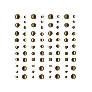 80 perles adhésives doré clair