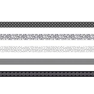 5 masking tapes - blanco y negro