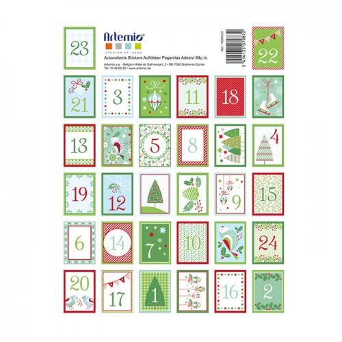 64 stickers chiffres verts et rouges pour calendrier de l 39 avent. Black Bedroom Furniture Sets. Home Design Ideas