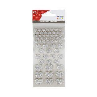 Stickers Cœurs à paillettes x 174 - argenté-blanc-rouge