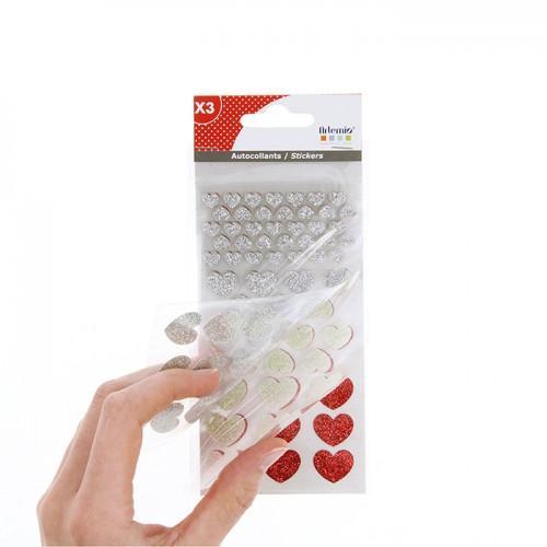 Pegatinas Corazones con brillo x 174 - plateado-blanco-rojo