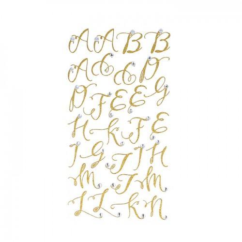 Pegatinas y estrás alfabeto dorado con brillo
