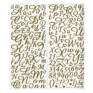Golden alphabet & figures stickers with glitter