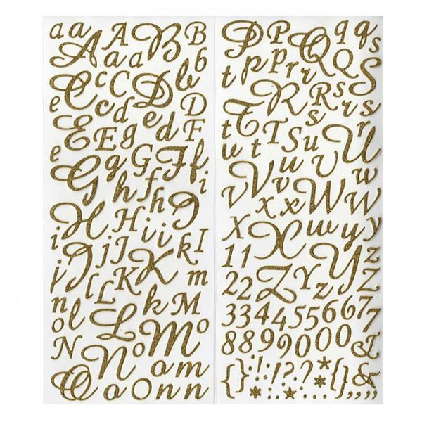 stickers alphabet chiffres dor s paillettes youdoit. Black Bedroom Furniture Sets. Home Design Ideas